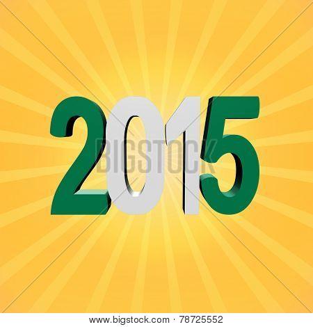 Nigerian flag 2015 text on sunburst illustration