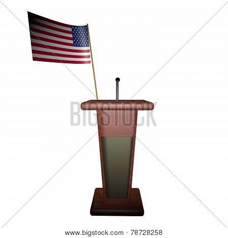 Podium And Usa Flag
