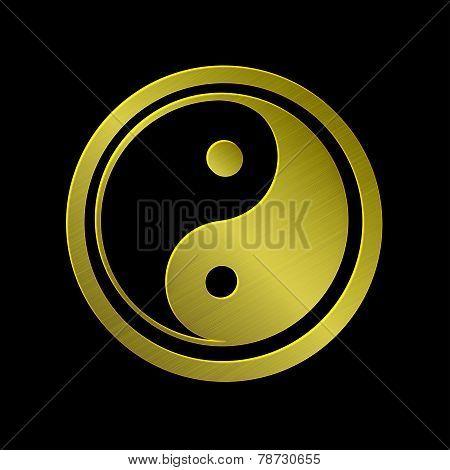 illustration of golden metallic Jin Jang black