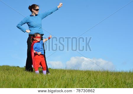 Superhero Mother And Child - Girl Power