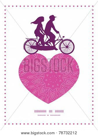 Vector pink abstract flowers texture couple on tandem bicycle heart silhouette frame pattern greetin
