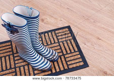 Dirty wellington boots on door mat in room