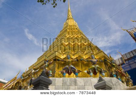 gold pagoda in the Temple of the Emerald Buddha , Bangkok Thailand