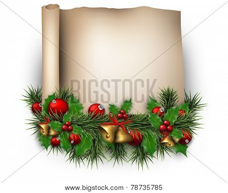 Winter old paper background with fir twigs and red baubles. Golden bells. Christmas vector illustration. Eps10.