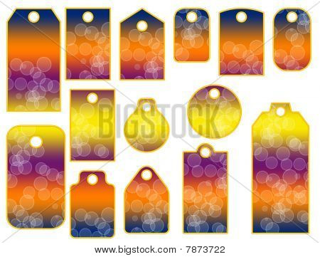 Colorful tags with bubbles