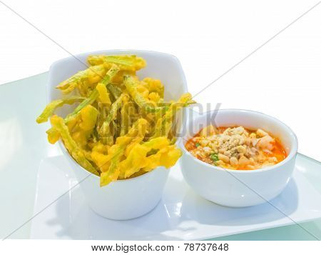 Deep Fried Morning Glory Tempura And Spicy Pork Salad( With Clipping Path)