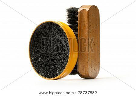 Shoe Polish And Brush On White