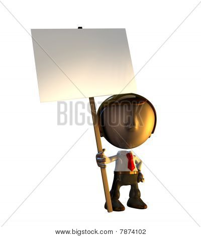 3D Business Man Character Standing Holding Sign