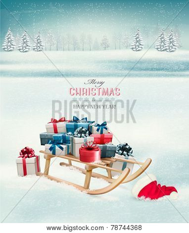 Christmas background with presents on a sleigh. Vector.