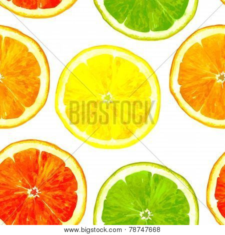 vector seamless pattern with citrus fruits