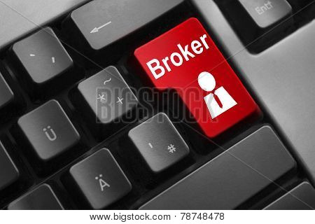 Keyboard Red Button Broker