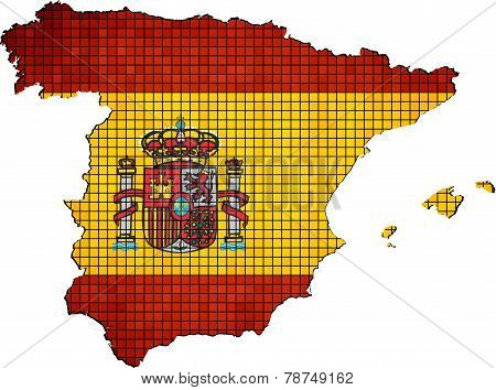 Spain map with flag inside