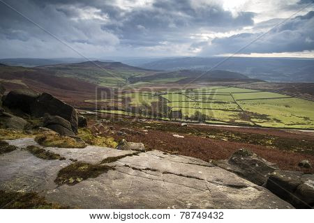 Beautiful Autumn Fall Landscape Of Hope Valley From Stanage Edge In Peak District