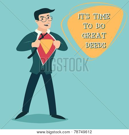 Happy Smiling Businessman Turns in Superhero Suit under Shirt Icon on Stylish Background Retro Carto