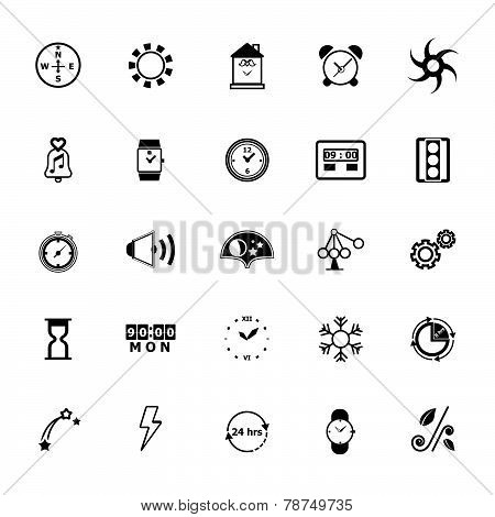 Design Time And Direction Line Icons On White Background