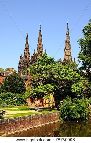 Lichfield Cathedral and remembrance gardens.