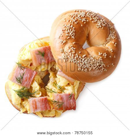 Bagel With Scrambled Eggs And Bacon  Isolated On White