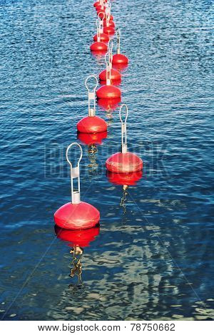 Red Buoy For Mooring Boats On The Water