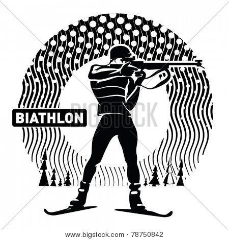 Biathlon. Vector illustration in the engraving style