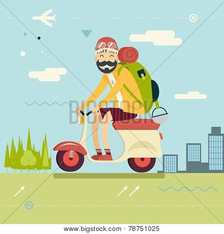 Happy Smiling Man Geek Hipster with Traveler Backpack on Schooter Icon Travel Lifestyle Planning a S