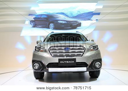 Bangkok - November 28:image Zoom Of  Subaru Outback Car On Display At The Motor Expo 2014 On Novembe
