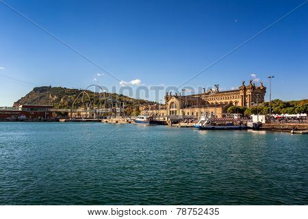View On Barcelona Harbour And Montjuic Hill, Barcelona, Catalonia, Spain