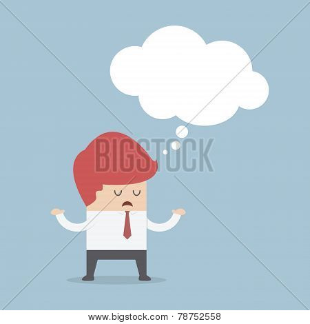 Bored Businessman With Blank Speech Bubble