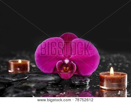 Beautiful red orchid with two candle and therapy stones