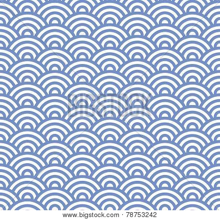 Wave Seamless Blue Pattern. Vector