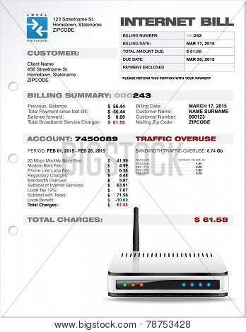 Internet ISP Expenses Bill Document Template Layout with Router