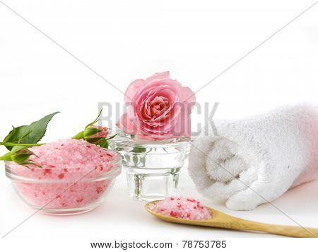 Still life with rose with roller towel ,salt in bowl, towel