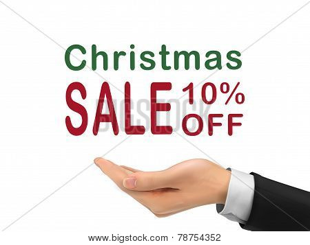 Christmas Sale 10 Percent Off Holding By Realistic Hand