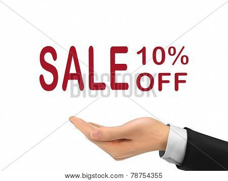 Sale 10 Percent Off Holding By Realistic Hand