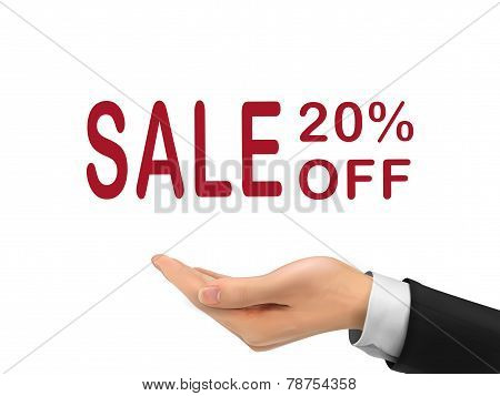 Sale 20 Percent Off Holding By Realistic Hand
