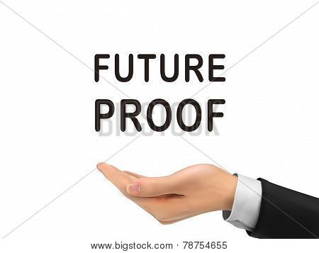 Future Proof Words Holding By Realistic Hand