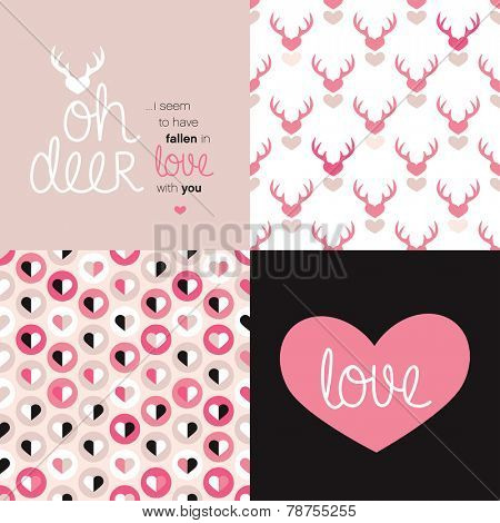 Sweet Valentine's day love message postcard cover design and seamless hearts and deer illustration background pattern in vector