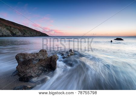 Sunset At Hemmick Beach Near Gorran Haven On The South Cornwall Coast