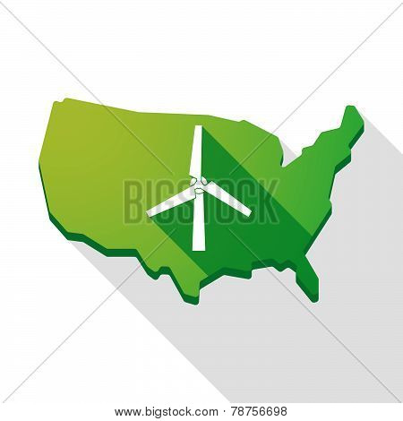 Usa Map Icon With A Wind Generator