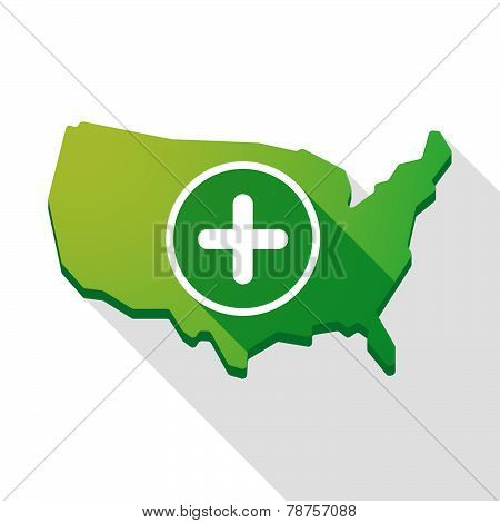 Usa Map Icon With A Sum Sign