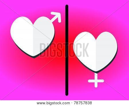 heart men and women restroom sign