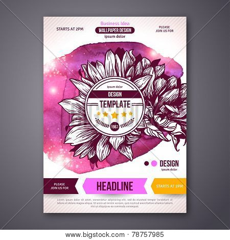 Business Poster or Flyer Template with watercolor paint background.
