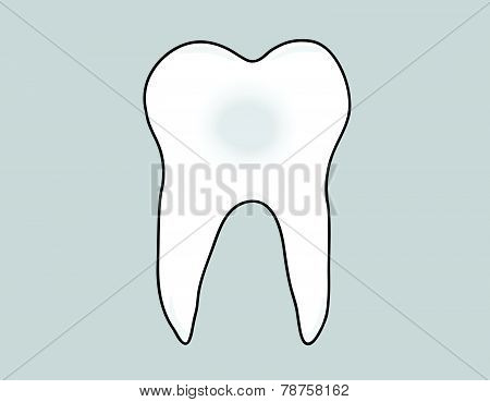 tooth on a gray background. vector illustration