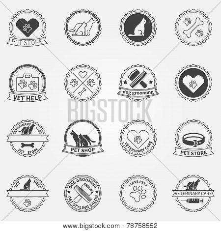 Dog ans cats black logos and badges