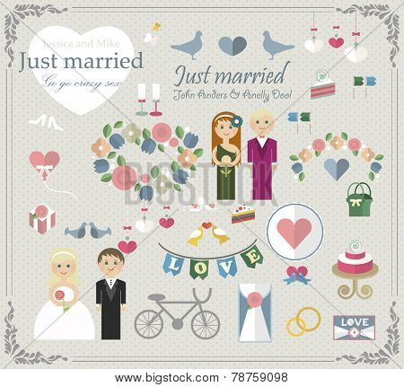 set wedding elements. wedding for car glass. wedding scrapbook. wedding Cake flat. Wedding card flat. Wedding Cake flat. Wedding Card Invitation in Vector