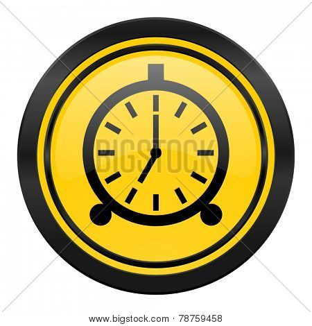alarm icon, yellow logo, alarm clock sign