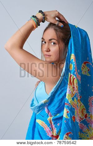Young female dressed in sari Indian style