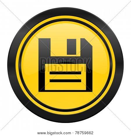 disk icon, yellow logo, data sign