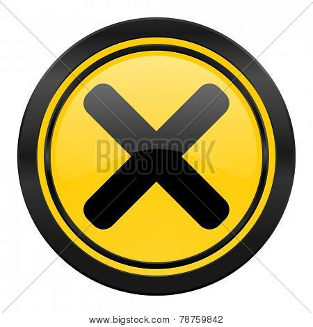 cancel icon, yellow logo, x sign