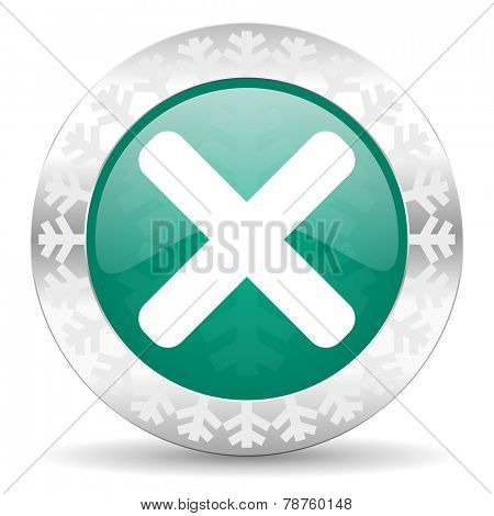 cancel green icon, christmas button, x sign