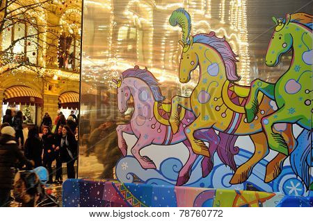 Drawn Horse, Illumination And People Walking Befor New Year